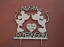 rustic wedding cake topper, wedding cake topper, cake topper Mickey and Minnie
