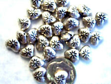 50 Antique Silver Plated Double Sided Sparkle Heart Beads 8MM