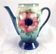 Antique Moorcroft Coffee Chocolate Pot Poppy Flower Vintage Pottery Anemone