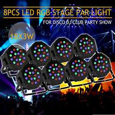 8PCS 18LEDs 54W Stage Light 4CH DMX-512 RGB Party Club DJ Disco Strobe Lighting