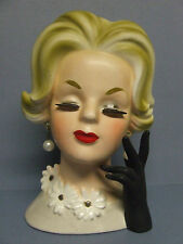 Vintage Napcoware Elegant Blond w/Black Glove, Eye Lashes & Ear Rings (#C6428)