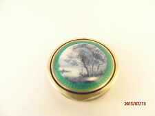 French Silver Gilt Guilloche and Hand Painted Enamel Compact - Circa 1900
