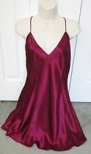 Fredericks of Hollywood Sangria Satin SLIP CHEMISE GOWN sz L Lingerie NIGHTGOWN