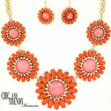 CLEARANCE WEAR ANYWHERE ORANGE FLOWER & CRYSTAL CHUNKY JEWELRY SET CHIC & TRENDY