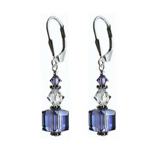 Earrings made w/ Swarovski Crystal Elements. Purple 8mm Cube. S. Silver 925