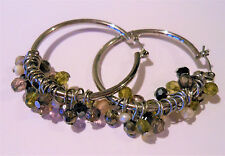 Coldwater Creek Multi-faceted Olive Pearl Amber Bling Beads on Silver Hoops