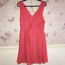 £220 Vera Wang NEW Coral Orange Ball Gown Skater Prom Bow Races Ascot Dress 14