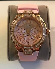 NEW GUESS W0300L3 SPARKLING GLITZ ROSE GOLD PINK SILICONE CHRONO WOMEN'S WATCH