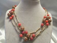Vintage GOLDtone Bar & ORNATE Findings w/ PINK PEACH Lucite Necklace 15N520