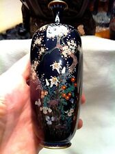 "Antique Japanese Cloisonne , Flowers, 6"", Silver Wire , Signed OTA TAMESHIRO"