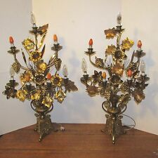 Antique French brass 7 light alter candelabras girandoles electricfied