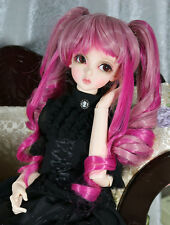 "1/3 8-9"" BJD DOLL WIG SD BANGS PIGTAILS PINK HOT PINK LUTS DOLLFIE JR-36 USA"