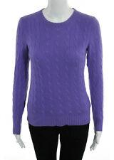 RALPH LAUREN BLACK LABEL Lavender Cashmere Cable Knit Slim Fit Sweater Sz S
