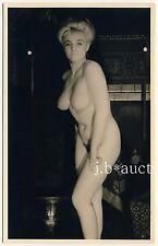 NUDE BUSTY BLOND WOMAN CHIGNON / NACKTE BLONDINE HOCHFRISUR * Vintage 50s RPPC