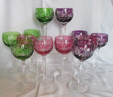 VTG Gem Color Hand Cut to Clear Crystal Lrg Wine Hock Stems 12 Red Purple Green