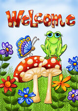 "Mushroom Frog Spring House Flag Welcome Butterfly Toadstools Flowers 28""x40"""