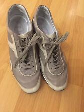 Preowned Tod's Low-tops & Trainers Pale Taupe Suede Wedge Sneaker SZ 36 1/2!! GA