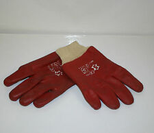 One Pair Red PVC Knit Wrist Gloves