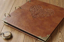 personalized wedding Leather Photo Album Scrapbook Album  love heart Guestbook