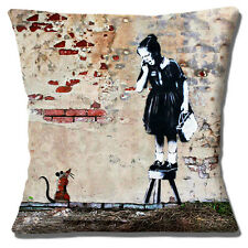"Banksy Graffiti Artist Screaming Girl on Stool Mouse 16"" Pillow Cushion Cover"
