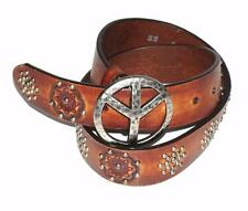 BRIGHTON~DISTRESSED BROWN~LEATHER *METAL STUDS & PEACE BUCKLE* BELT~B21084