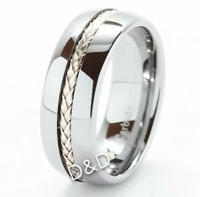 8Mm Men Tungsten Silver Inlay Wedding Band Engagement Ring Size 8-12