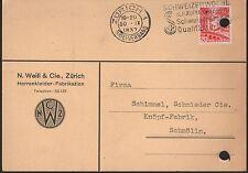 ZÜRICH, Postkarte 1937, N. Weill & Cie. Herrenkleider-Fabrikation