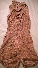 BNWT DKNY Jeans UK size 10 playsuit floral pink cotton silk blend sleeveless