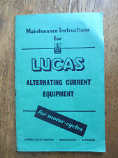 1951 - 1959 Lucas motorcycle AC equipment maintenance instructions booklet
