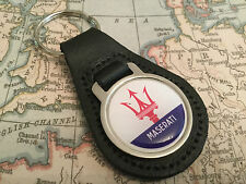 MASERATI Quality Black Real Leather Keyring