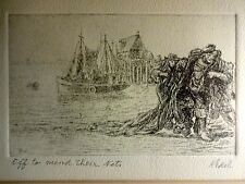 Albert Edel (American 1894-1970) Etching Art Fishing Nets Signed Framed Vtg