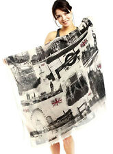 NEW TRAVELING LONDON PRINT COTTON LONG SCARF