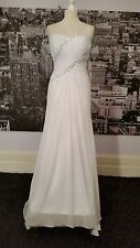JJs House Seqinned Lace up Gown (White-Size 12) Wedding, Beach Wedding RRP £300+