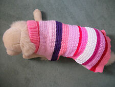 """HAND KNITTED TEXTURED XLARGE DOG COAT/JUMPER PINK MULTI-STRIPES,22"""" - 23.5"""""""