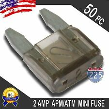 50 Pack 2A Mini Blade Style Fuses APM/ATM 32V Short Circuit Protection Car Fuse