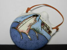 "Southwest Art Pottery Hanging Vase Bottle Glazed Figure w Rural Scene  5 1/2"" T"