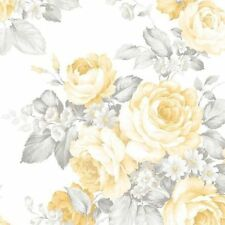 Gray and Yellow Roses on White Wallpaper GC29800 Double Roll FREE SHIPPING