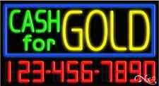 """NEW """"CASH FOR GOLD"""" W/YOUR PHONE NUMBER 37x20x3 NEON SIGN W/CUSTOM OPTIONS 15122"""