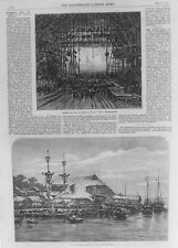 OLD ANTIQUE PRINT MACAO THEATRE ENTERTAINMENT RIVER SCENE BOATS c1866