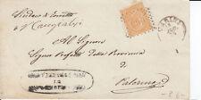 1863 10 C. SU BUSTA DOPPIO ANN. NUM. + CIRCOLARE DA CARINI A PALERMO 8