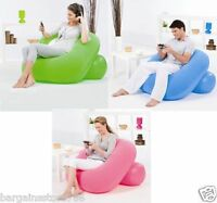 INFLATABLE FLOCKED SINGLE NESTAIR POD CUBE CHAIR LOUNGER GAMING STOOL GREEN BLUE