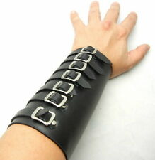 Tew142- 6.5 inches 7 Buckles Black Leather Bracer Arm Armor Cuff Punk EMO Gothic