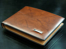 Fashion Brown Men Bifold Leather Purse Designer Inspired Multi Pocket Wallet New