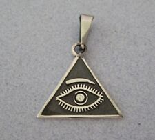 Mexican 925 Silver Taxco Good Luck Evil Eye Pyramid Eye of God Triangle Pendant