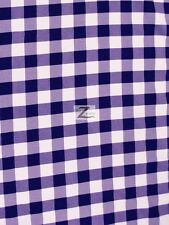 "CHECKER GINGHAM 100% POLYESTER POPLIN FABRIC - 15 Colors - 57""/59"" WIDE SOLD BTY"