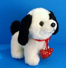 "Chinese Dragon White&Black Puppy Dog Red Love Heart Collar 6"" Plush Valentines"