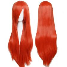 US Long Full Head Synthetic Wig Straight Cosplay Costume Party Dress Orange Wigs