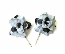2 x Grey Black Silver Rose Flower Hair Grips Clips Bobby Pins Slides Goth 2140