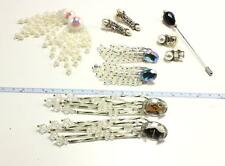 VINTAGE LOT BATCH 5 PAIRS HANDMADE EARRINGS 1 BROOCH PIN CRSTAL RHINESTONE