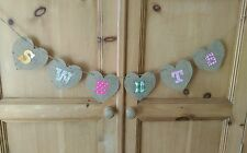 SWEETS bunting banner rustic vintage wedding shabby chic candy cart sign